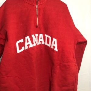 1/4 zip sweater Canada red large